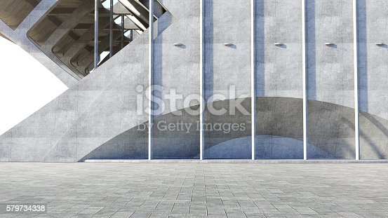 istock Abstract concrete geometric structure background. 3D rendering 579734338