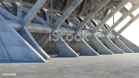 istock Abstract concrete geometric structure background. 3D rendering 579734368