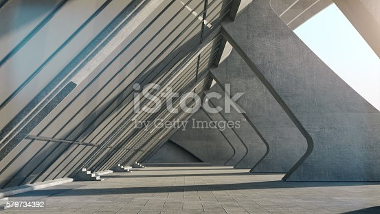 istock Abstract concrete geometric structure background. 3D rendering 579734392
