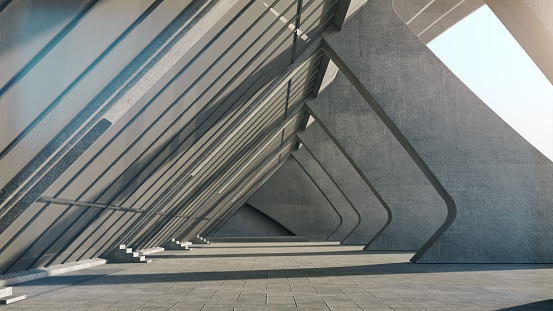 Abstract concrete geometric structure background. 3D rendering