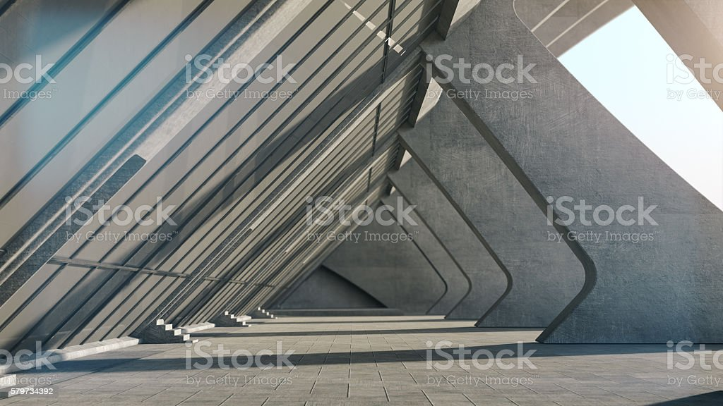 Abstract concrete geometric structure background. 3D rendering - Photo