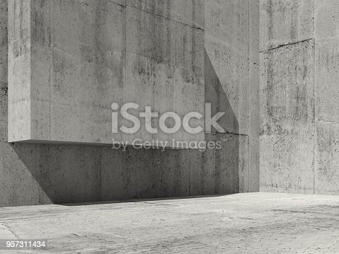 585055656 istock photo Abstract concrete interior, 3d render 957311434
