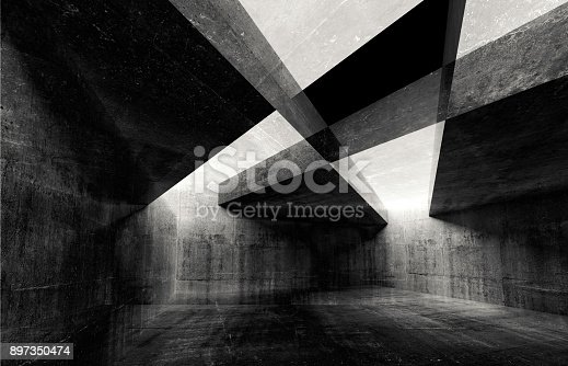 istock Abstract concrete interior background texture 897350474