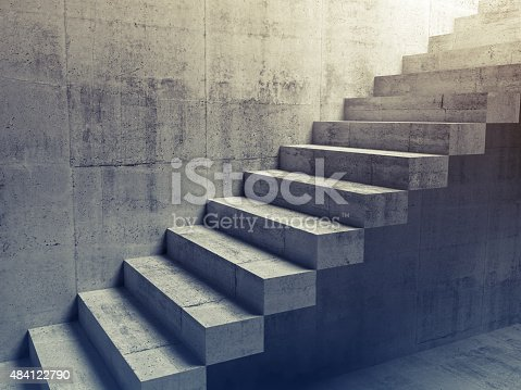Abstract concrete interior, cantilevered stairs construction on the wall, 3d illustration