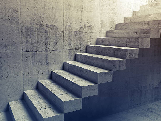 abstract concrete interior, cantilevered stairs 3d - staircase stock photos and pictures