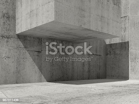 istock Abstract concrete interior design, 3d 957311436