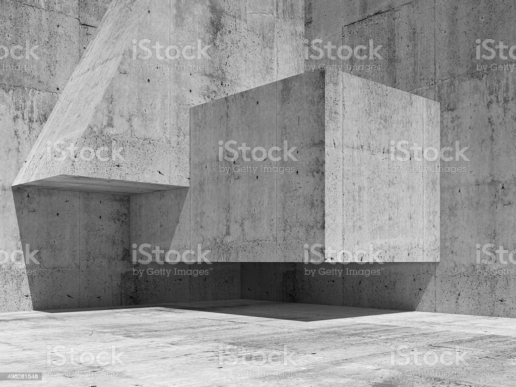 Abstract concrete interior fragment, 3d render stock photo