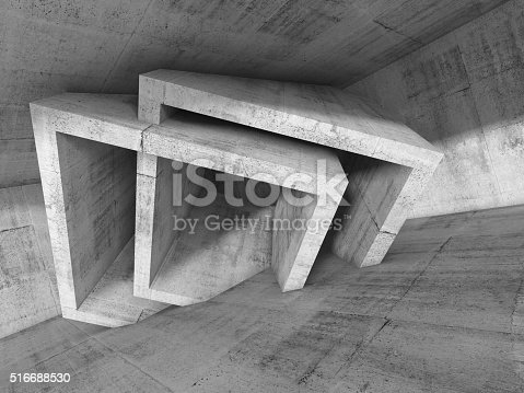516688156istockphoto Abstract concrete interior with cubic structures 516688530