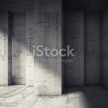 istock Abstract concrete interior with many corners 512750356