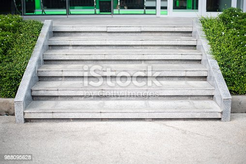 Abstract Concrete step staircase with plants tree