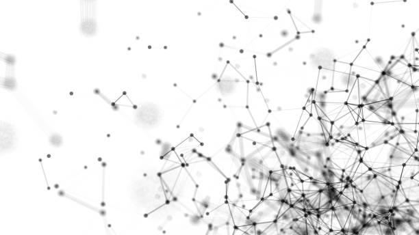 abstrakte verbundenen punkte auf weißem hintergrund. technologie-konzept. digitale illustration - grauflecken stock-fotos und bilder