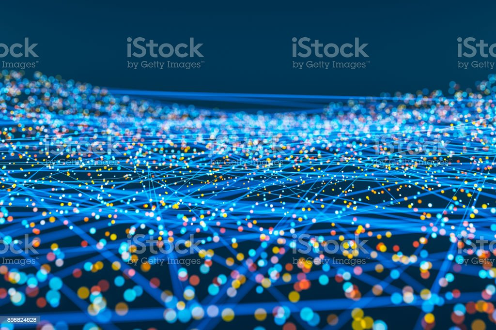 Abstract connections of lines and spheres stock photo