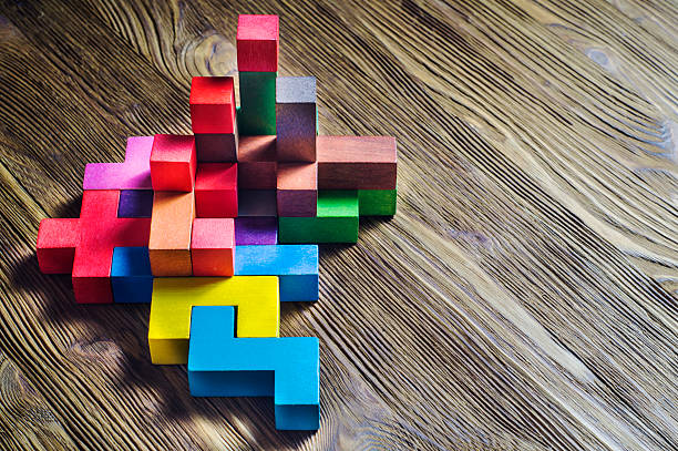 Fondo de bloques de construcción de madera Tetris formas. - foto de stock