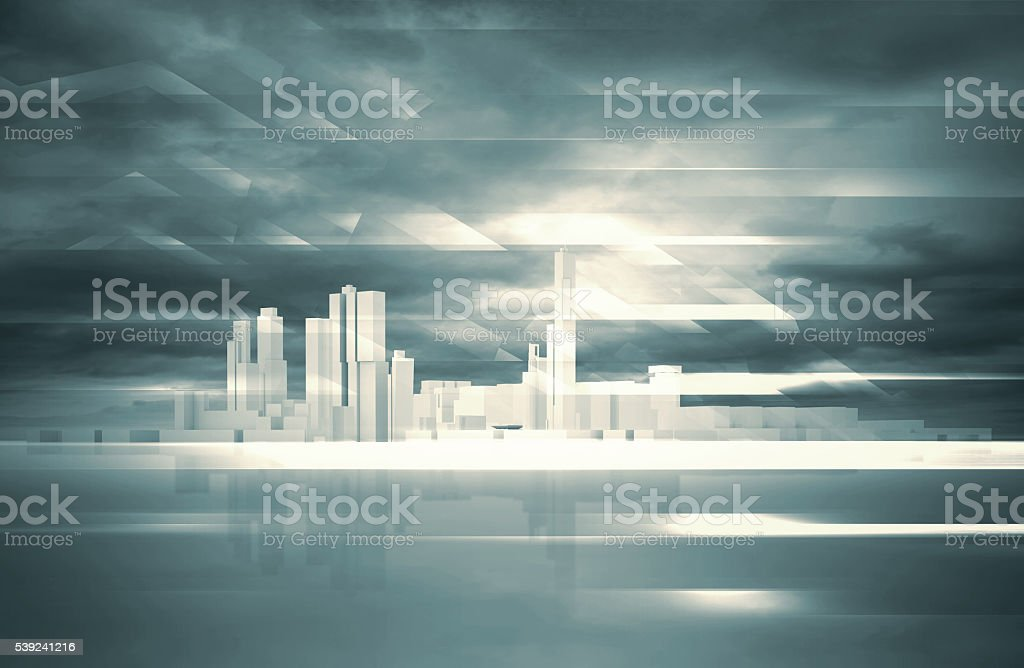Abstract contemporary background. 3 d City royalty-free stock photo