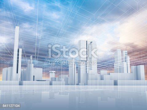istock Abstract contemporary city background 3 d 541127104