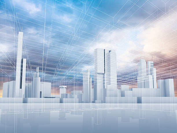abstract contemporary city background 3 d - wire frame model stock photos and pictures