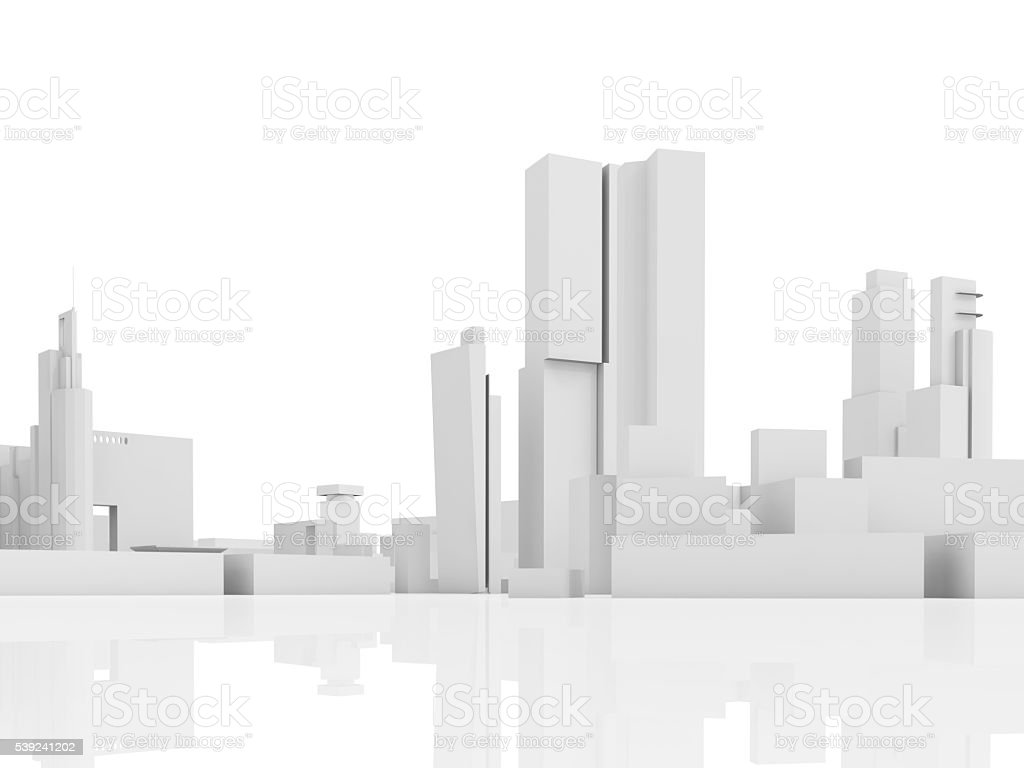 Abstract contemporary city, tall 3d houses royalty-free stock photo