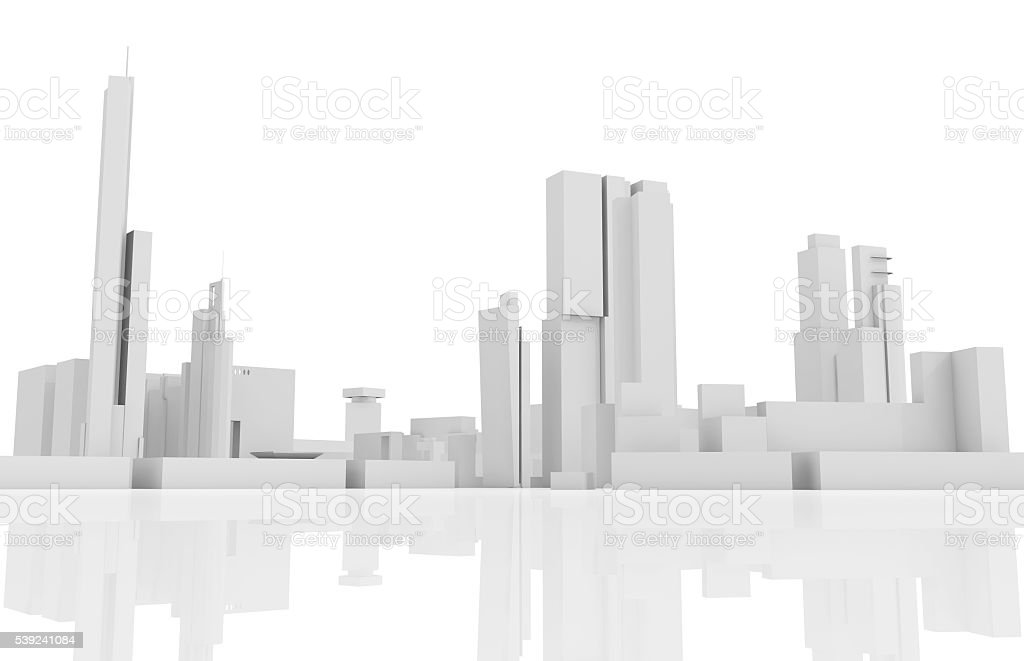 Abstract contemporary cityscape, 3 d builds royalty-free stock photo
