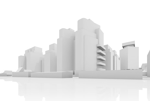 Abstract contemporary cityscape, houses, industrial buildings and office towers. 3d render illustration isolated on white