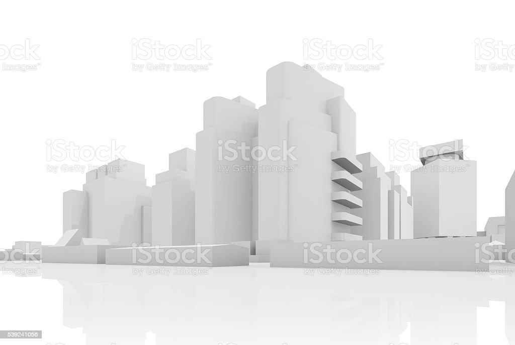Abstract contemporary cityscape, 3 d houses stock photo