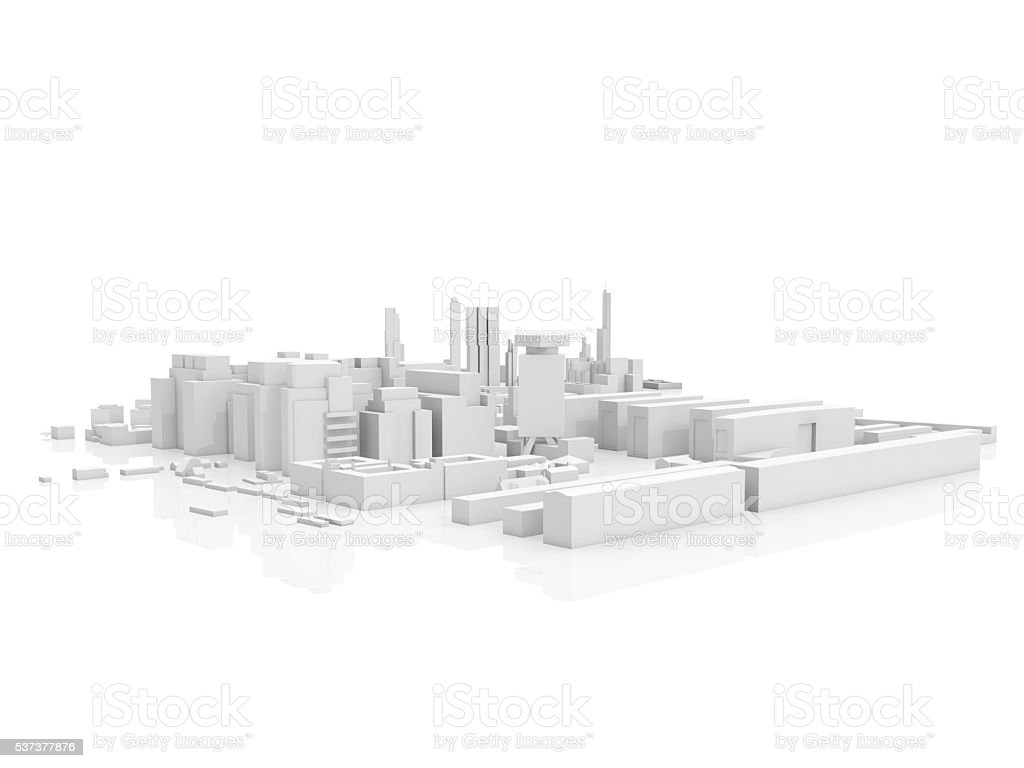 Abstract contemporary cityscape, 3 d render stock photo