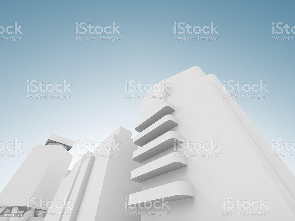 Abstracto contemporánea Renderizado 3D de un paisaje de la ciudad foto de stock libre de derechos