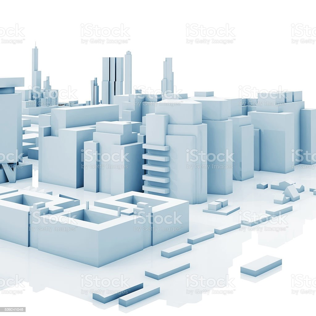 Abstract contemporary cityscape, blue 3 d royalty-free stock photo