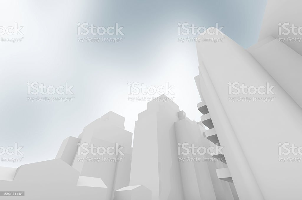 Abstracto contemporánea ciudad sobre cielo azul foto de stock libre de derechos