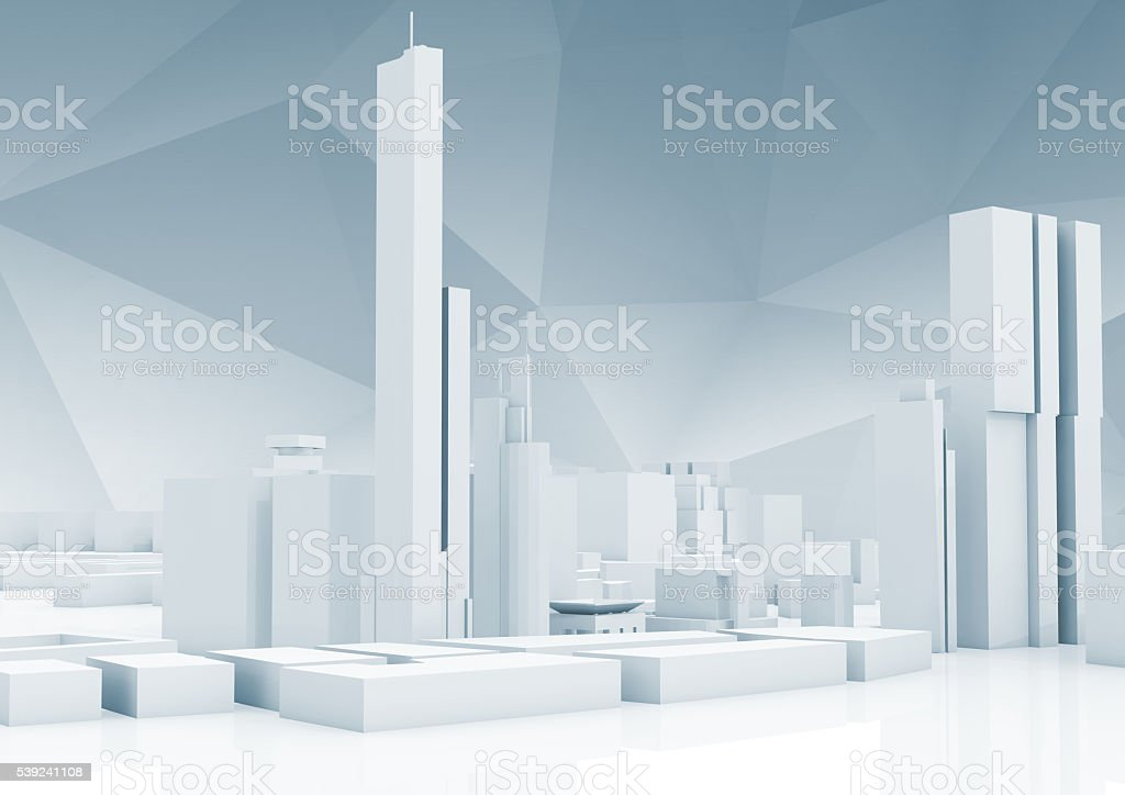 Abstract contemporary cityscape skyline 3 d royalty-free stock photo