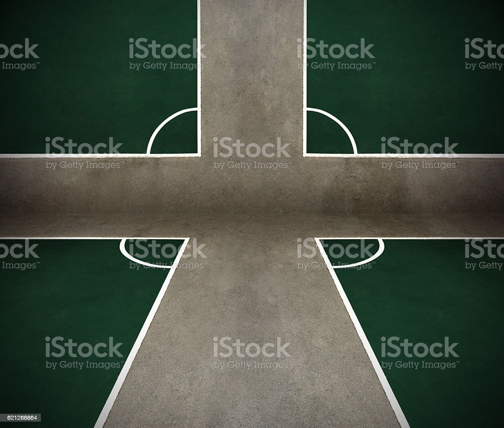 Abstract corners of outdoor (play)ground soccer fields on asphalt stock photo