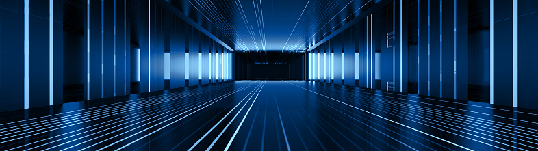 Abstract Corridor Perspective  Hall Digital Technology Background. Blue light in digital hall. 3D Illustration.
