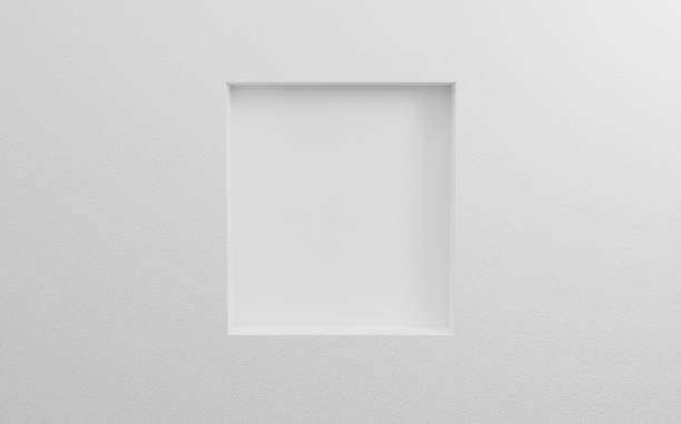 Abstract cosmetics background. Blank bright gallery template on white wall texture in room. 3d rendering for mockup poster, exhibition, banner on website. Empty clean picture on grey background. stock photo