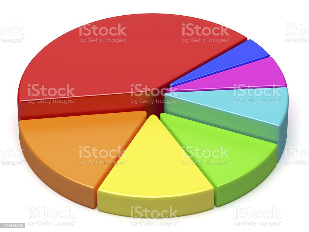 Abstract creative colorful pie chart stock photo