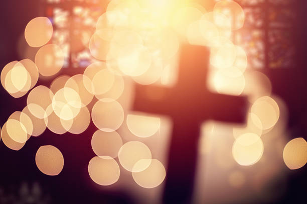 abstract cross in church interior - church stock photos and pictures