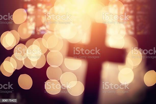 Abstract Cross In Church Interior Stock Photo - Download Image Now