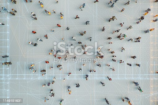 istock Abstract crowds of people with virtual reality street display 1149151631