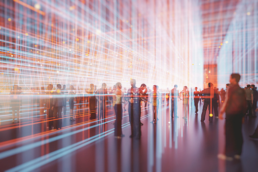 Abstract crowds of people with virtual reality street display. This is entirely 3D generated image.