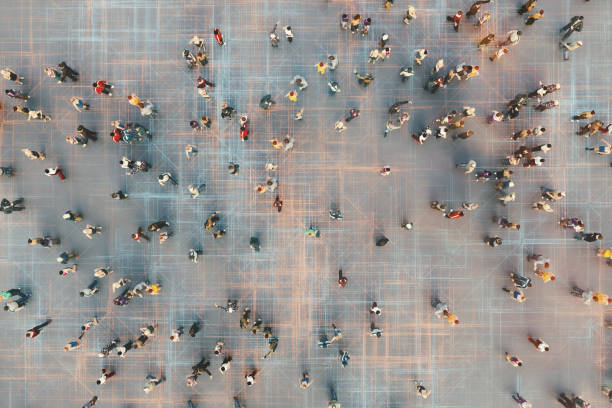 Abstract crowds of people with virtual reality street display stock photo