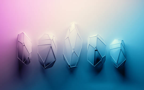 Abstract crystals in pink blue stock photo