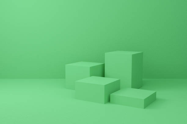 Abstract cube on pastel background texture with geometric shape. 3d render design for display product on website. Minimal mockup with green podium scene concept. Empty showcase for advertising. stock photo