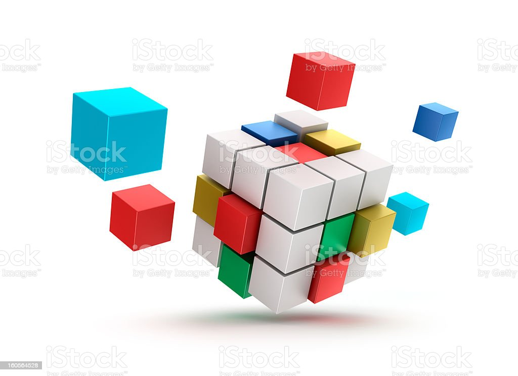 3D abstract cubes background. Isolated on white. royalty-free stock photo