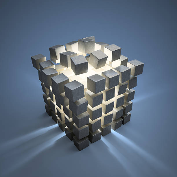 Abstract cubes explotion stock photo