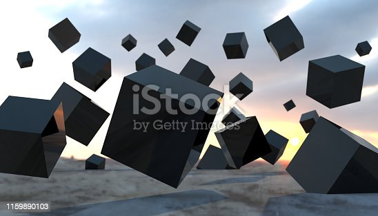 511983606 istock photo Abstract cubes floating mid air 1159890103