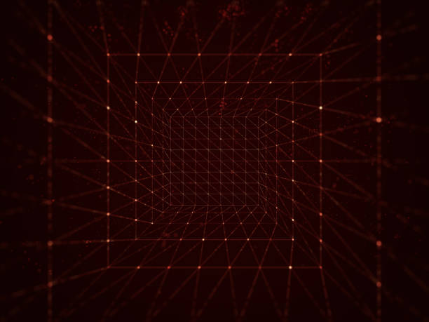 abstract cubes. network connection background - stock image - vr red background imagens e fotografias de stock