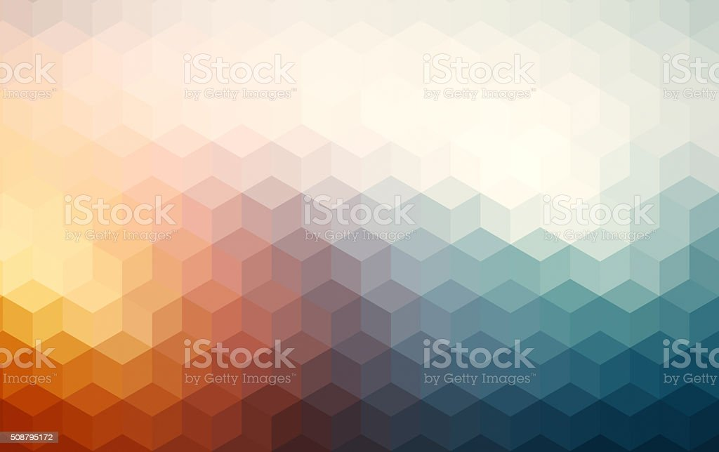 Abstract cubes retro styled colorful background stock photo