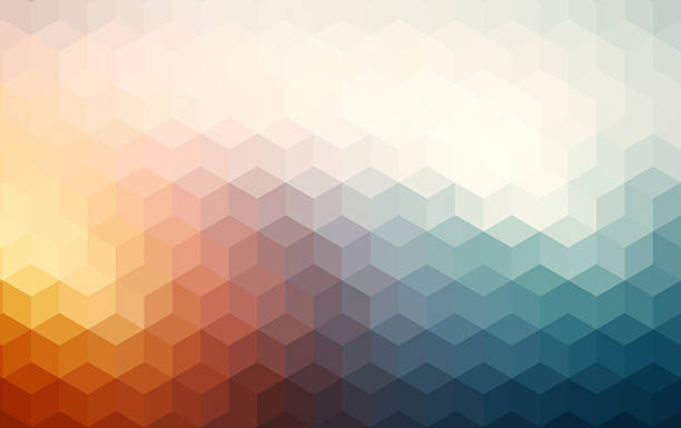 abstract cubes retro styled colorful background - cube shape stock pictures, royalty-free photos & images
