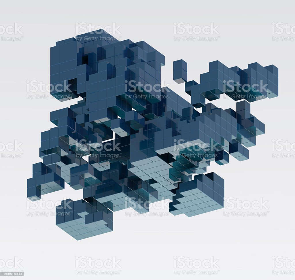 Abstract cubic isometric structure stock photo