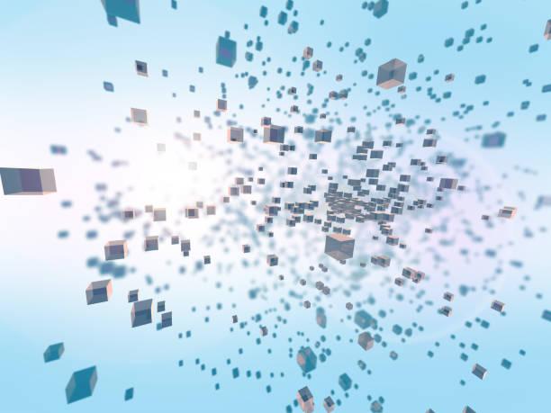 抽象的な立方スペース、ナノテクノロジー、科学・工学に関するメタファーで 3次元の図 ストックフォト