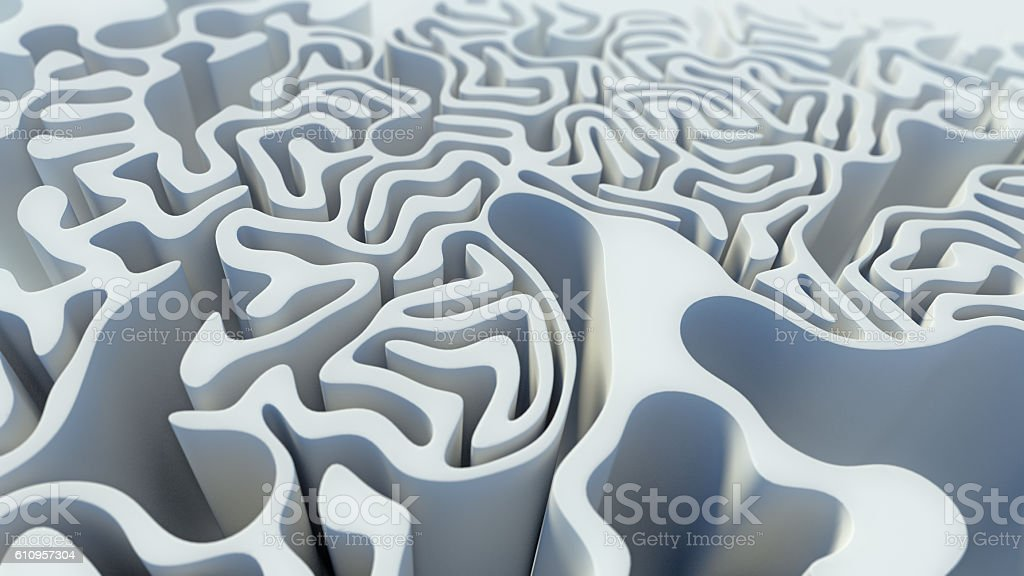 Abstract curly pattern white labyrinth 3d rendering stock photo