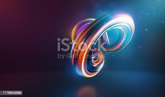 Abstract curved and twisted shape 3d render with light glows and soft flares against colourful background.